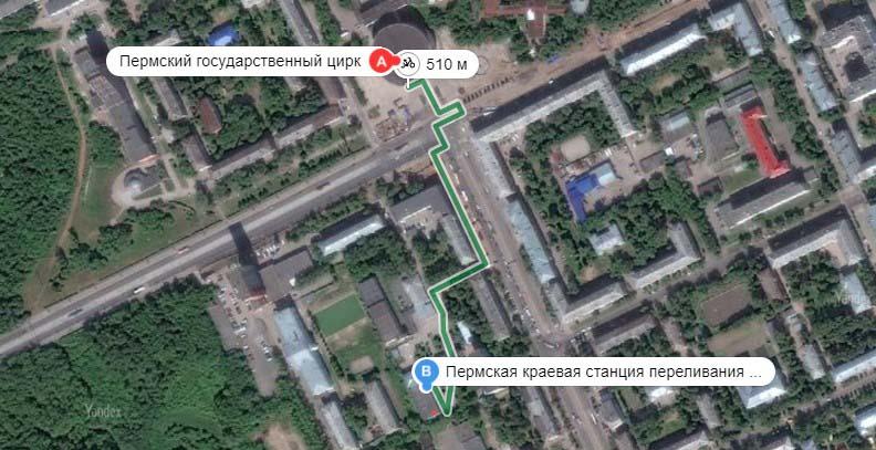 Схема проезда до донорского центра